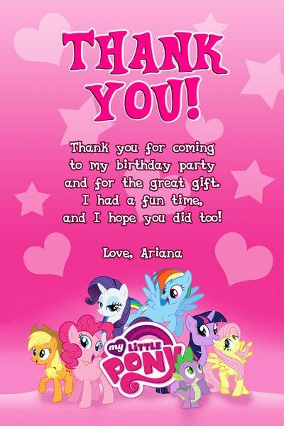 My Little Pony Thank You Card 2 Invitations Pinterest