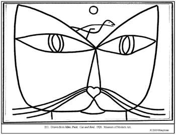 Klee, Paul. Cat and Bird. Coloring page and lesson plan