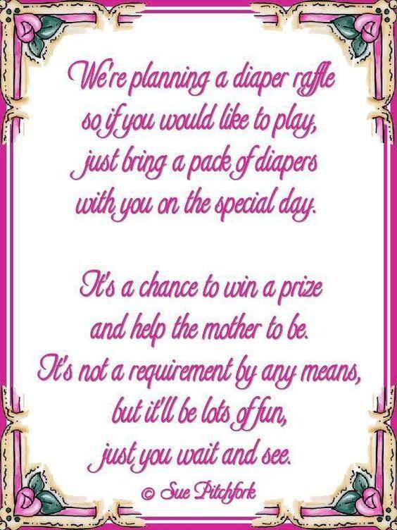 Diaper Wishing Well Poem Poem Diaper Raffle Baby Shower Invitation Wprintable Baby