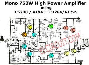 750W Mono Power Amplifier Schematic diagram | Audio Schematic | Pinterest