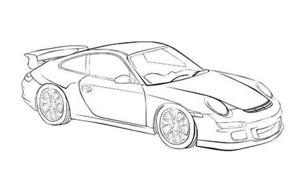 Porsche 911 Kleurplaat • Kidkleurplaat.nl