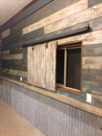 My garage (Man cave). Used reclaimed barn wood and door ...