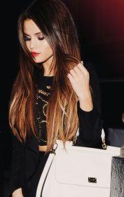 selena gomez ombr hair-dark brown