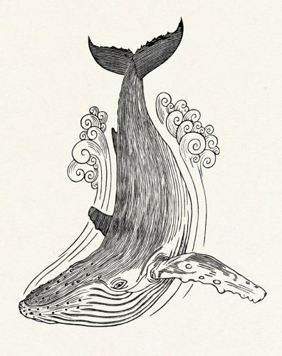 GRAHAM BLAIR WOODCUTS WHALE II Hand-cut and hand-pulled