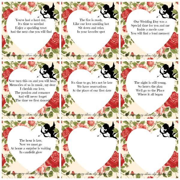 Romantic Treasure Hunt Riddles Clues Perfect Idea For