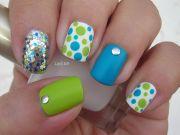 blinged blue green white nail
