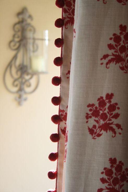 Pom Pom Trim On Leading Edge Of Panel Curtains Bedding Amp Pillow Ideas Curtain Lady Design