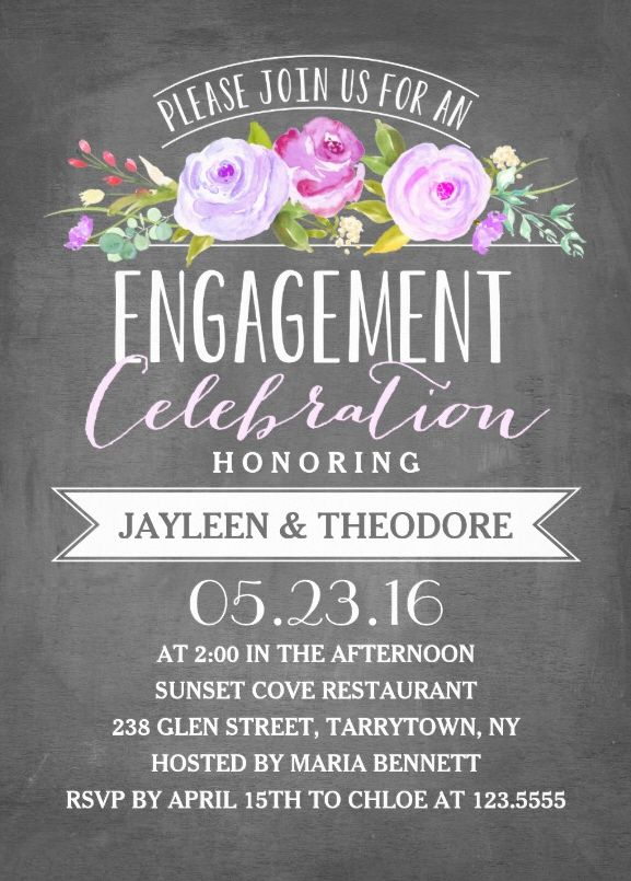 Engagement chalkboard invitation template  Perfect for