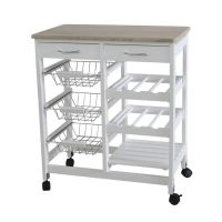 Home Basics 3-basket Kitchen Cart with 2 Drawers and Wine ...