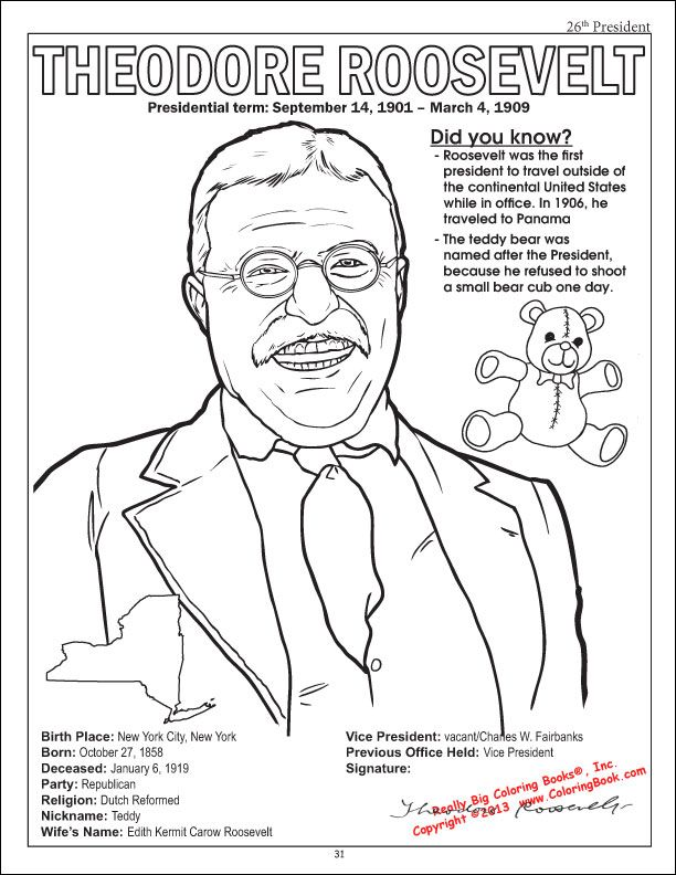 Teddy Roosevelt coloring page from the American Presidents