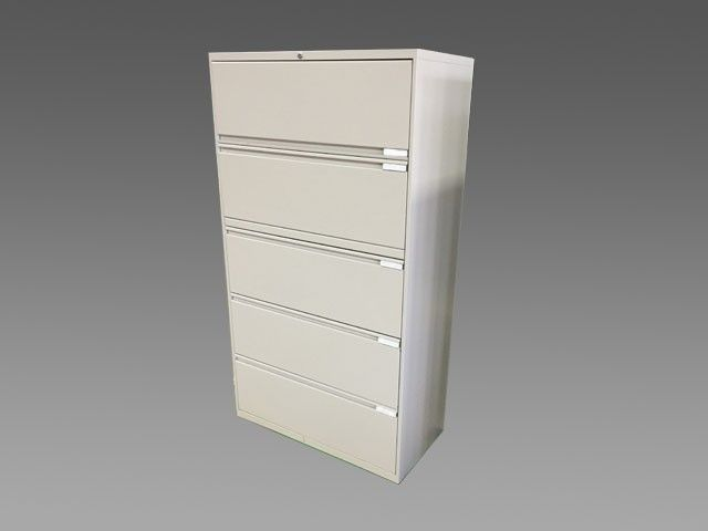 36 Teknion 5 drawer filing cabinet w flip up doors that