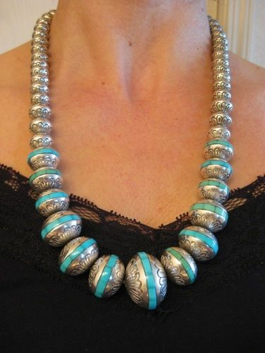 Navajo Turquoise Inlay Stamped Sterling Bead Necklace  turquoise and more  Pinterest