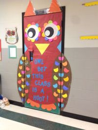 Fall Owl Door for a 4th grade class. Adding a panel to the ...