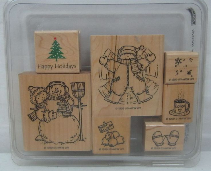 Stampin Up Snow Angels 1999 Wood Mounted Rubber Stamp Set