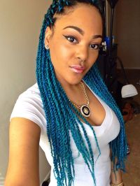 My twist on protective style Senegalese twists with aqua ...