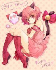 anime girl pink hair cat