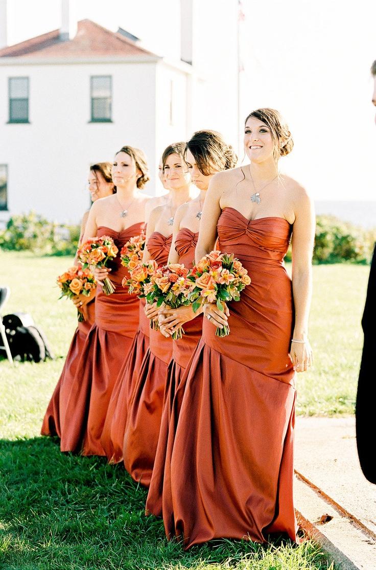 Fall Orange Bridesmaid Dresses