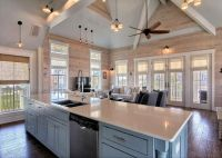 Rustic Great Room with Ceiling fan, Cathedral ceiling ...