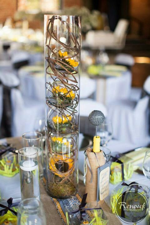 Table Centerpiece Fish Bowls Inside Glass Cylinder With