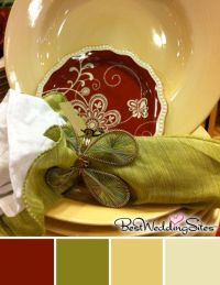Rustic Color Palette in Burgundy, Olive Green and Golden