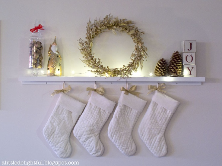 Remodelaholic How To Hang Stockings Without A Mantel Hanging Christmas Stockings Without A Mantle | Christmas