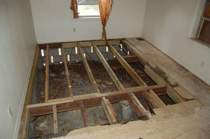 AFTER  damaged subfloor replaced Now a layer of sturdy