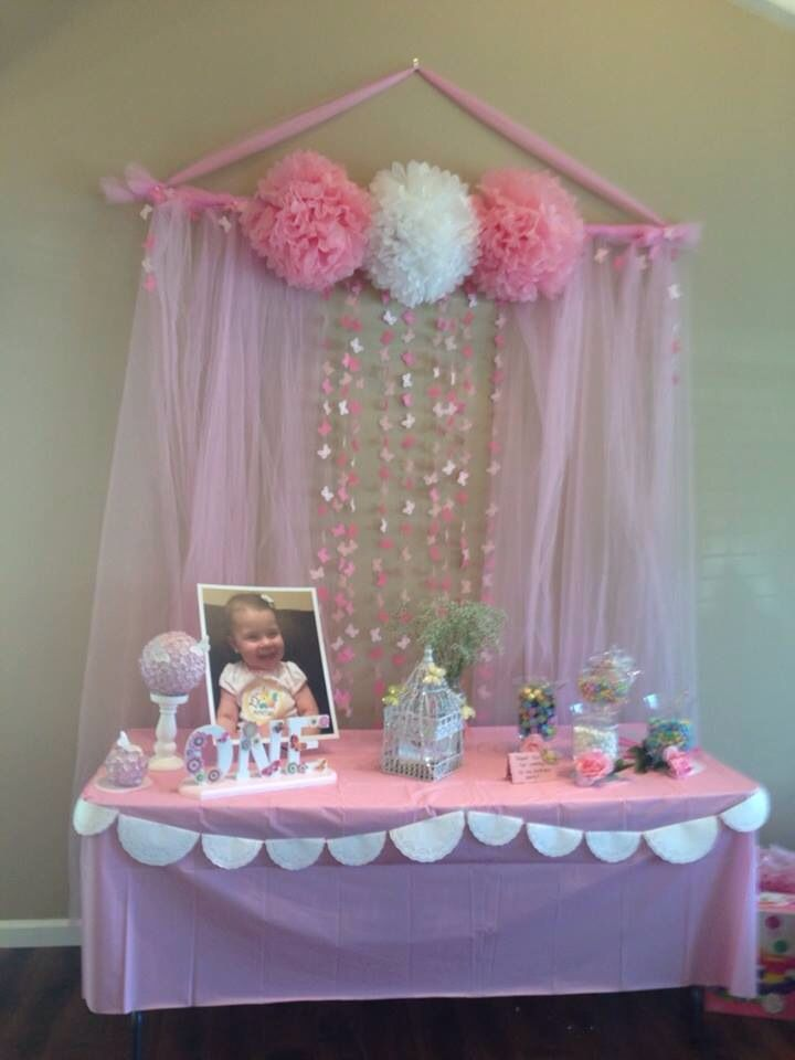 Sweets table Birthday party Butterfly theme Backdrop