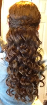 prom hair pancake braid and curls