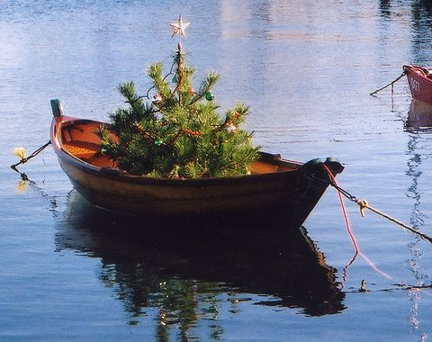 Nantucket Christmas tree in a boat. Can you imagine this tied to your dock? LOVE. Found on www.completelycoastal.com via www.flickr.com/photos/bawoodvine/3210230285:
