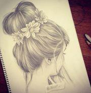 cute bun drawing hair drawings