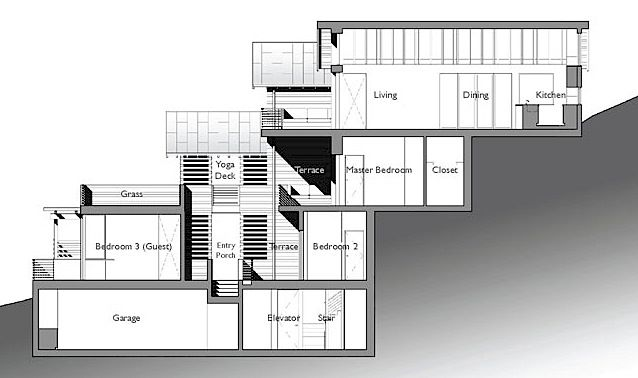 Example Split Level House Built On Steep Slope Click On Image