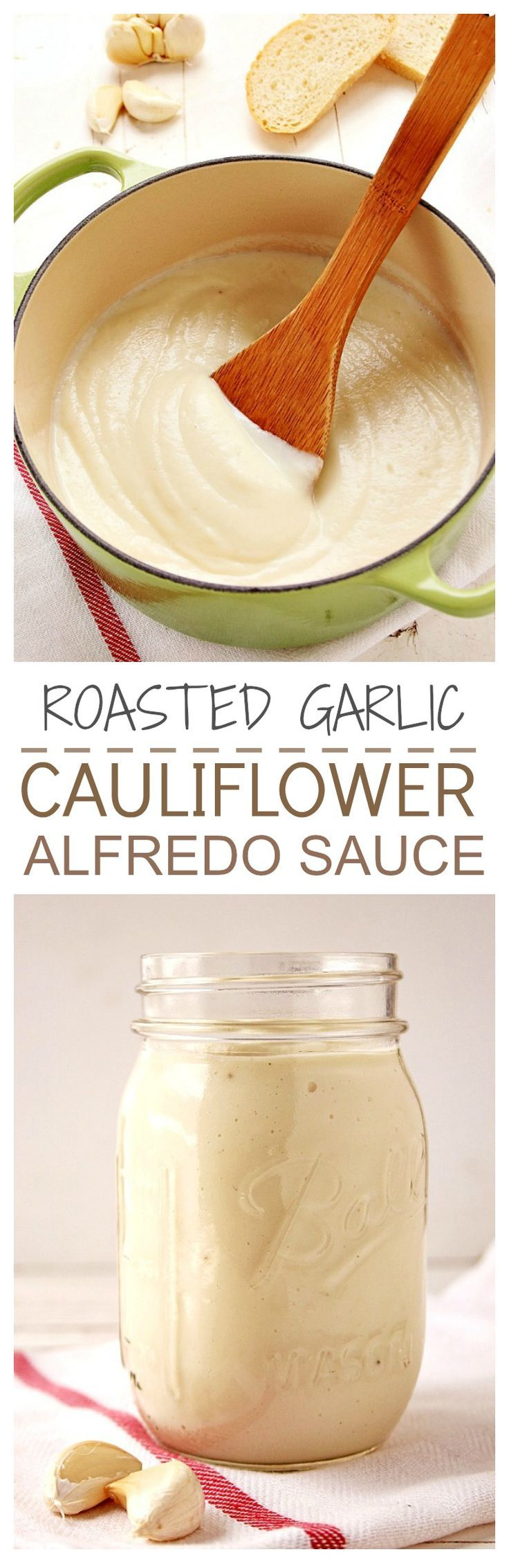 Healthy sauce made with cauliflower and roasted garlic with an addition of Parmesan. We can't stop eating it! Great on pasta and