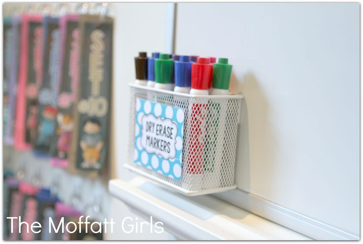magnetic caddy for holding dry erase markers  from The Container Store  Homeschool Room
