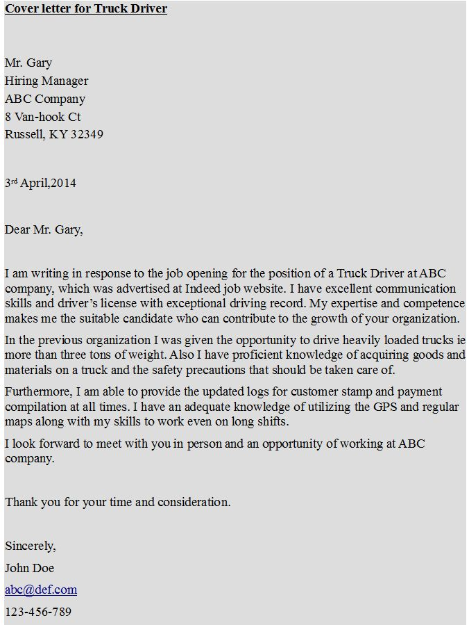 Cover letter for Truck Driver httpshipcvcom   Pin