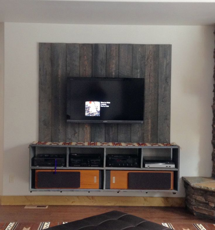 diy floating shelves for my living room red sectional ideas industrial barnwood entertainment center ...