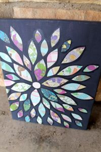 Scrapbook Paper Flower Petals- collage on 11x14 in canvas ...