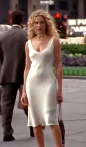Carrie Bradshaw season 3 in a white silk slip dress with wild curls Love it  Style
