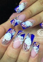 blue rhinestone floral nails verovargas