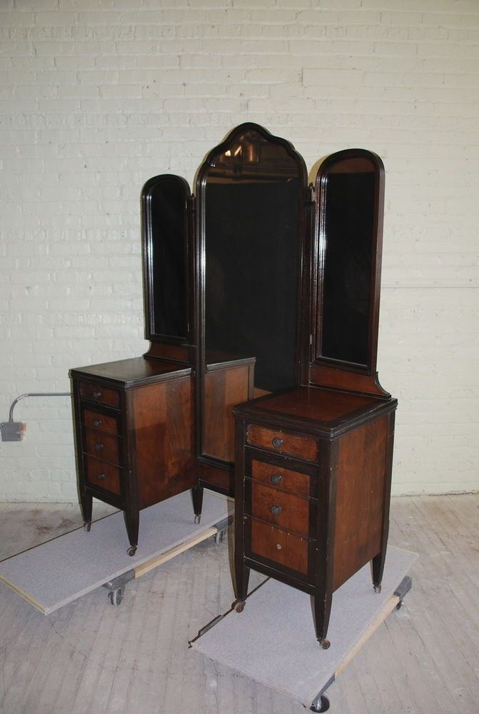 Large Antique Revell Co Chicago Victorian Mens Oak Wood Mirror Vanity Dresser Antiques