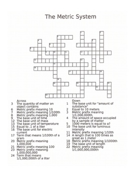 Metric System Crossword Puzzle: Teaching Metric