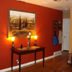 Burnt Orange Paint Color Living Room Black Glass Furniture Added A New Painting And Lamps, Is The Wall ...