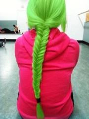 green fishtail braid #kawaii