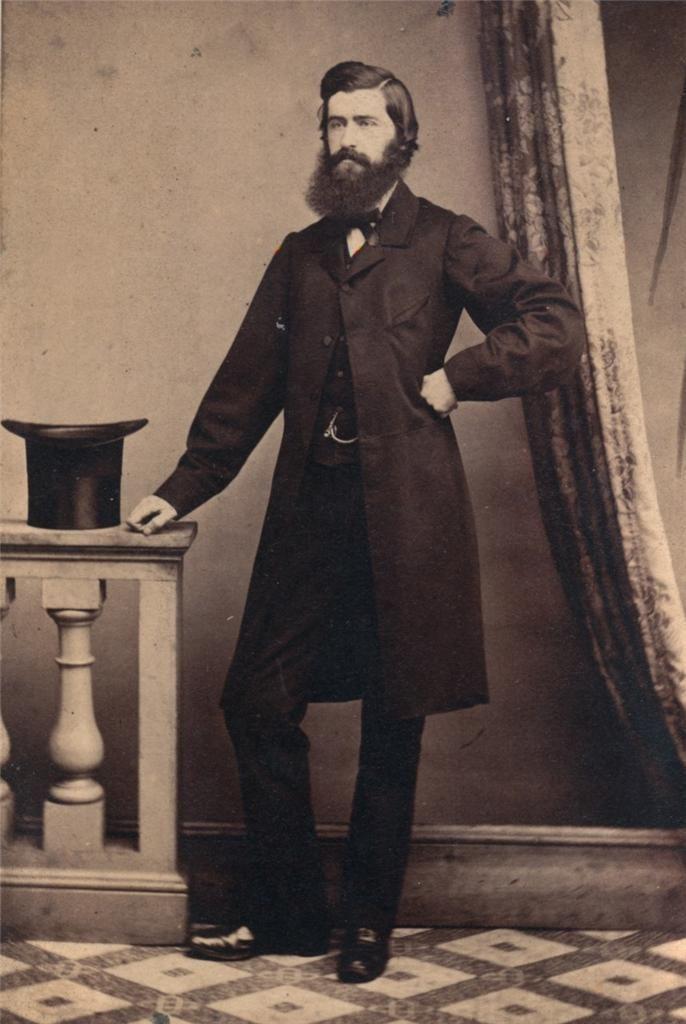Vintage Victorian Beard Top Hat Tailcoat Photo Suit Well