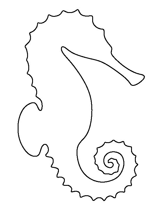 Sea horse pattern. Use the printable outline for crafts