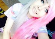 cute white and pink dyed hair