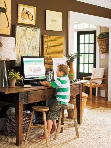 Desk space Desks and Home design on Pinterest