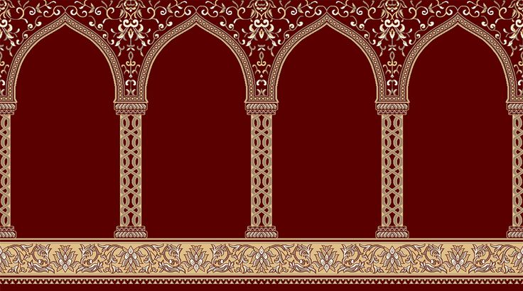 Mosque Carpet USA Red Hira Made in Turkey Colorfast Anti