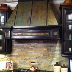 Metal Cabinets Kitchen Pulls Faux Rust On Hood And Trim To Match ...