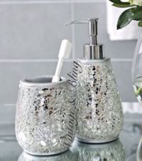Silver Sparkle Mirror Glass Crackle Bathroom Dispenser ...