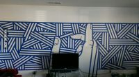 Blue painters tape + boredom = wall art